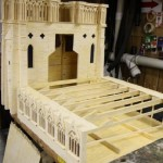Closeup. Notre Dame Cathedral. Matchstick architecture by American artist Patrick Acton