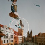 Cyclist flying over city. Painting by Armenian artist Vahram Davtian