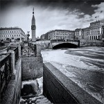 Channel at the dawn. Black and white St. Petersburg by Russian professional photographer Gennadi Blokhin