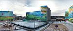 Panoramic photo of Ramenskoye with painted apartment blocks
