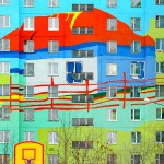 Painted apartment blocks in Ramenskoye in the forest area of the Moscow region, Russia