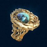 Ring 'Mermaid' performed in a dynamic, lush style with fancy plastic and scenic fluidity of forms. In the image of Mermaid - Australian opal of fancy shape, having a beautiful sea color