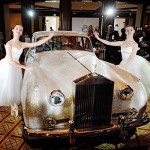 Covered with Swarovski crystals Rolls Royce Silver Cloud from 1962, displayed at the Four Seasons Hotel in Munich, southern Germany, on July 17, 2012