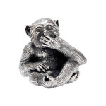 Small Silver 'Speak No Evil' Monkey Sculptureю $1,235