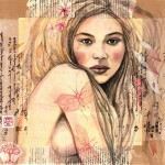 Gorgeous girl portrait. Collage drawings by travelling illustrator Stephanie Ledoux