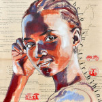 African girl. Collage drawings by French illustrator Stephanie Ledoux