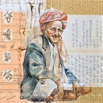 An old man from Yemen. Collage drawings by French illustrator Stephanie Ledoux