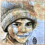 A boy in a knitted cap. Collage drawings by French illustrator Stephanie Ledoux