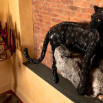 Wonderful Sculpture of a black Panther, decorated with Swarovski Crystals. Created by the British Neo Pop Artist Greg Holt