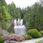 Natural waterfalls decorate the garden