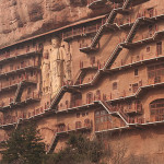 Unique cave architecture – The Maijishan Grottoes. Gansu Province, China