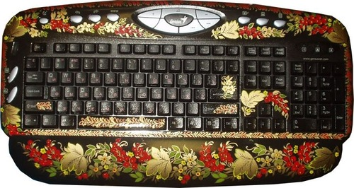 Khokhloma painting on keyboard and mouse
