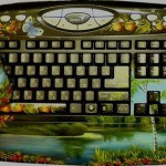 Landscape, nature inspired painting on keyboard