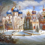 Artist Gaiduk. Trinity Lavra of St. Sergius. Fedoskino