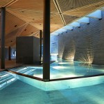 The hotel has a beautiful designer spa complex with pools of different temperatures. Tschuggen Grand hotel in Arosa, Switzerland