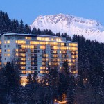 Evening life in Arosa is rich. Tschuggen Grand hotel in Arosa, Switzerland