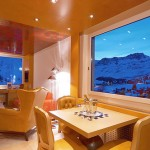 Large rooms with panoramic windows. Tschuggen Grand hotel in Arosa, Switzerland