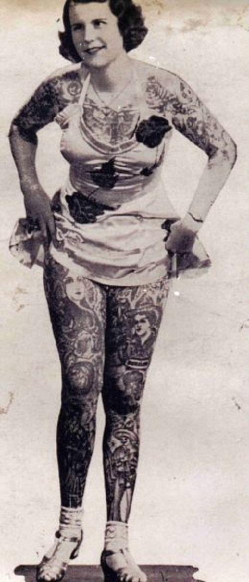 Vintage photographs of tattooed women