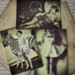 Old photographs of circus performes with head-to-toe tattoos