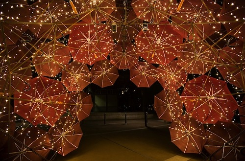 Glowing Umbrella installation by Anna Meister