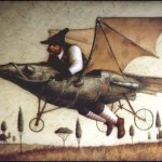 Flying on a metal bird. Surreal steampunk by Russian mixed-media artist Vladimir Gvozdev