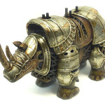 Stunning sculpture of steampunk rhino by Russian mixed-media artist Vladimir Gvozdev