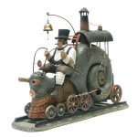 Train in the form of a snail. Surreal steampunk by Russian mixed-media artist Vladimir Gvozdev