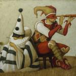 Masked actors. painting by Russian mixed-media artist Vladimir Gvozdev