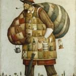 Traveller. Painting by Russian mixed-media artist Vladimir Gvozdev