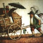 Carrying burrel. Painting by Vladimir Gvozdev