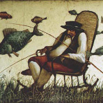 Fisher. Painting by Russian mixed-media artist Vladimir Gvozdev