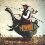 Riding a goose. Painting by Vladimir Gvozdev