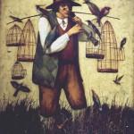 Bird cathcher. Painting by Vladimir Gvozdev