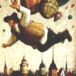 Flying over the city. Painting by Vladimir Gvozdev