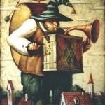 Street organ grinder. Painting by Vladimir Gvozdev
