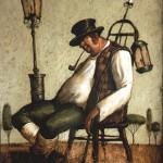 Lamplighter. Painting by Vladimir Gvozdev