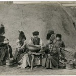Yakut women at the milkprocessing, early 20th century.