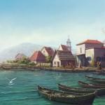 Boats on the sea shore. Realistic illustrations by Russian self-taught artist Igor Savchenko