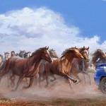Racing Herd of Horses. Illustration by Moscow based artist Igor Savchenko