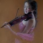 Violin player. Pastel painting by Paris based artist Lixu Ping, China