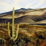 Arizona desert, watercolor landscape by American artist Robert Highsmith