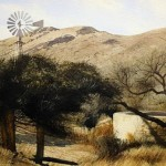 Windmill at soledad. Watercolor landscape by American artist Robert Highsmith