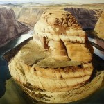 Horseshoe bend, watercolor realistic landscape by American artist Robert Highsmith
