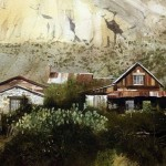 Houses at the mountains. Watercolor. Photo realistic landscapes by American artist Robert Highsmith