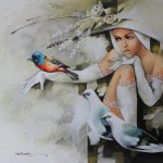 Birds and beauty. Painting by Victoria Stoyanova