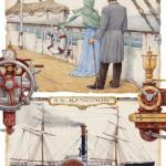 On the ship. Around the World in 80 Days. Illustrator Leo Kaplan