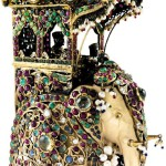 Decorated with pearls and rhinestones porcelain elephant