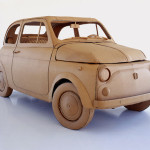 A car. Cardboard sculpture by British artist Chris Gilmour