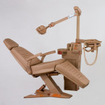Dentist chair. Cardboard sculpture by British artist Chris Gilmour
