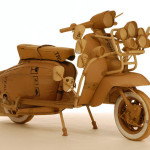 Motor bike. Cardboard sculpture by British artist Chris Gilmour